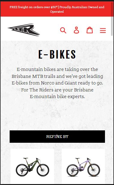 Fortherider - best online mtb store in Australia with e mtb in stock